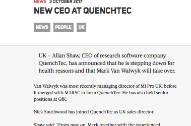 QuenchTec appoint new CEO and Sales Director as Allan Shaw steps down for health reasons